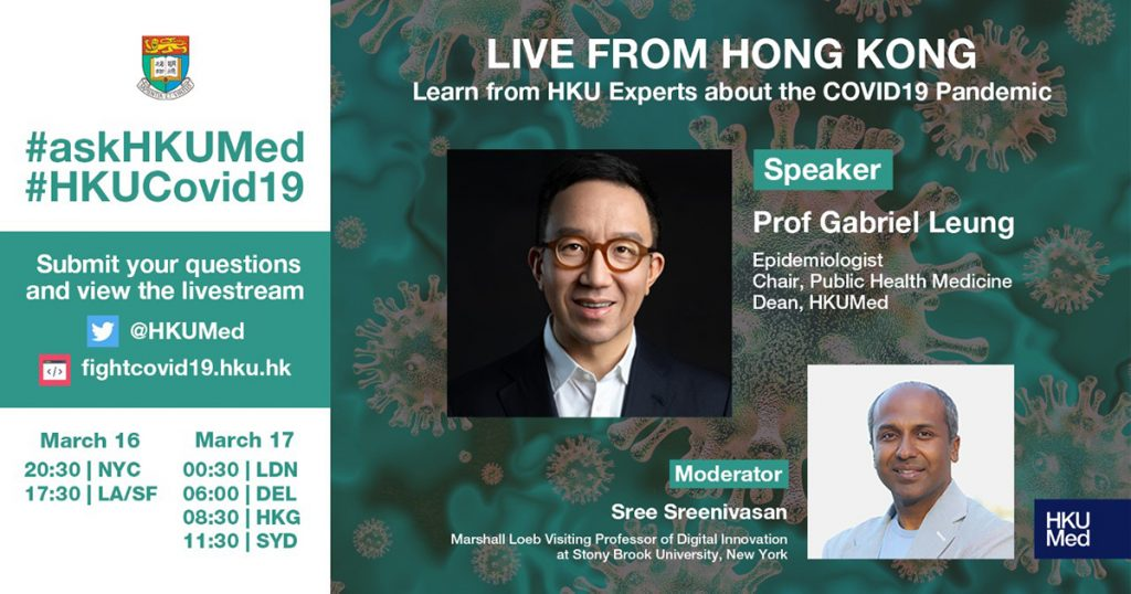 Live with Prof Gabriel Leung, epidemiologist and Dean of Medicine at The University of Hong Kong, a leading expert on the COVID19 outbreak